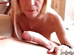 Awesome milf skillfully works her mouth at lover`s boner.